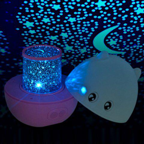 USB Charging 360° Rotating with Music Projection Cartoon Pig Night Light - PINK