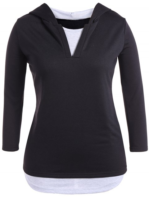Hooded Layered Color Block Casual Dress - BLACK 3XL
