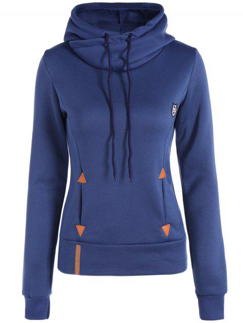 Patched Casual Hoodie - BLUE M