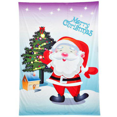Christmas Santa Claus Print Rectangle Beach Throw - PURPLE ONE SIZE