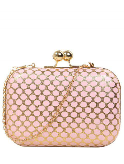 Metal Kiss Lock Polka Dot Evening Bag - PINK