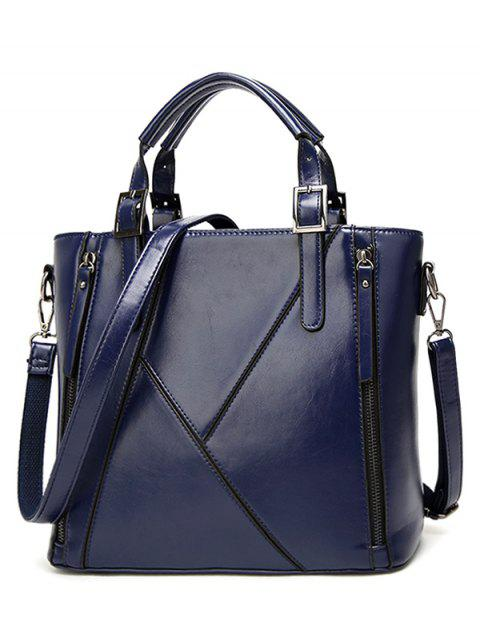 PU Leather Zippers Buckles Tote Bag - DEEP BLUE