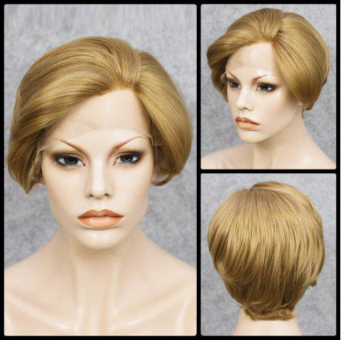 Mixed Color Short Straight Lace Front Synthetic Wig - COLORMIX