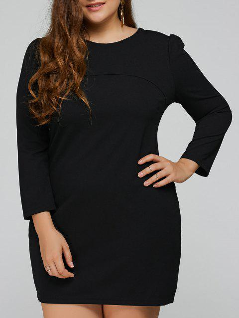 Three Quarter Sleeve Plus Size Mini Dress - BLACK 2XL