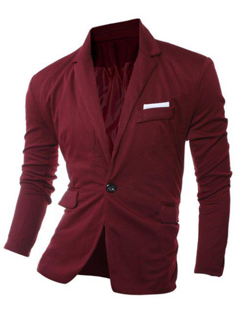 One Bouton Bordure Revers Manches Longues Blazer - Rouge vineux 2XL