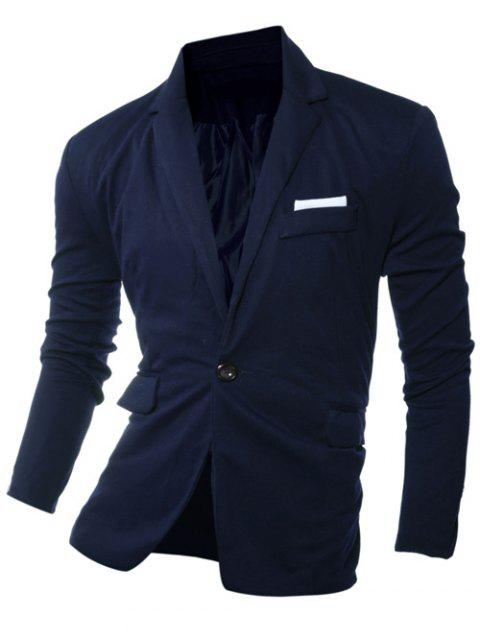 One Bouton Bordure Revers Manches Longues Blazer - Cadetblue M