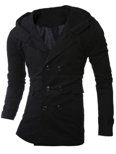 Manteau à capuche Allonger Double-breasted - Noir XL
