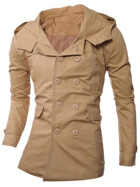 Manteau à capuche Allonger Double-breasted - Beige 2XL