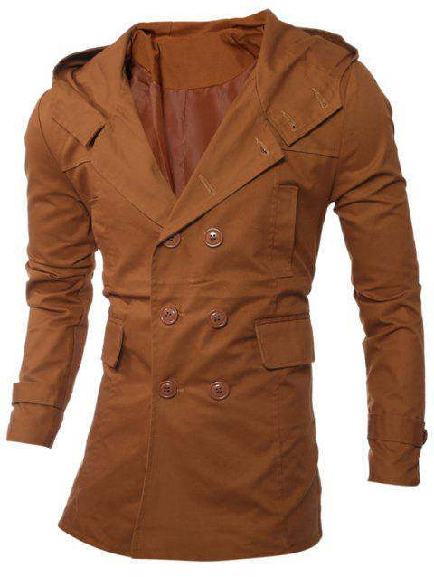 Manteau à capuche Allonger Double-breasted - chameau XL