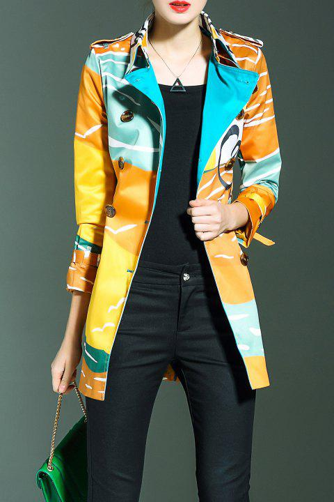 Double Breasted Printed Belted Trench Coat - YELLOW M