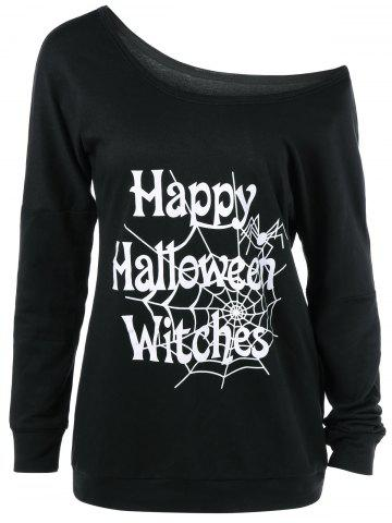 plus size skew collar halloween graphic t shirt