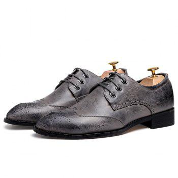 Pointed Toe Lace Up Engraving Formal Shoes - 43 43