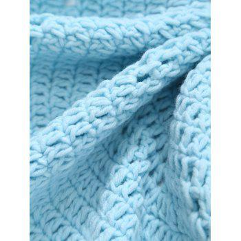 Blanket Comfy Pompon bord évider Crochet Knit ronde - Bleu clair ONE SIZE(FIT SIZE XS TO M)