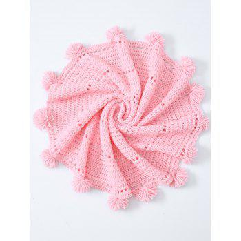 Comfy Pompon Edge Hollow Out Crochet Knit Round Blanket