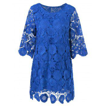 Lace Floral Sheer Shift Dress