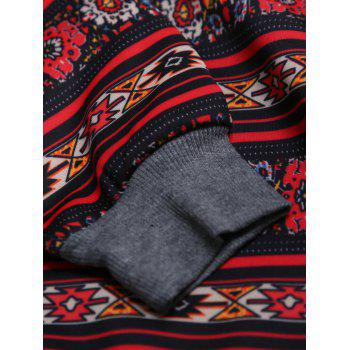 Breast Pocket Tribal Print Raglan Sleeve Hoodie - BLACK BLACK