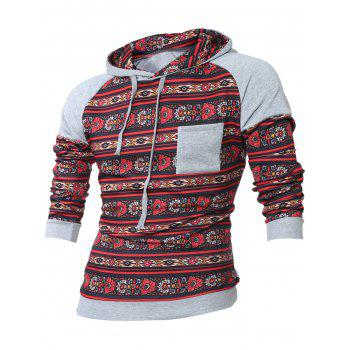 Breast Pocket Tribal Print Raglan Sleeve Hoodie