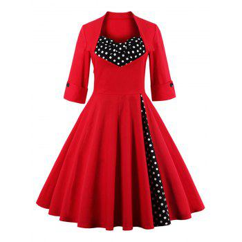 Bowknot Panel Flare Rockabilly Swing Dress - RED 3XL