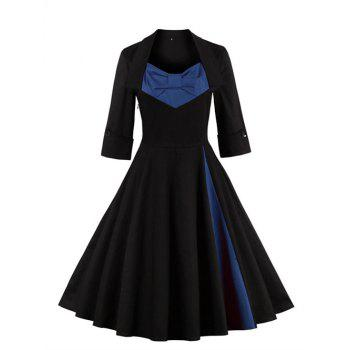 Bowknot Panel Flare Rockabilly Swing Dress - PURPLISH BLUE 4XL
