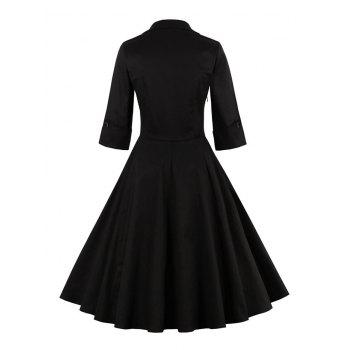 Bowknot Panel Flare Rockabilly Swing Dress - BLACK 4XL