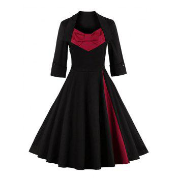 Bowknot Panel Flare Rockabilly Swing Dress - BLACK BLACK