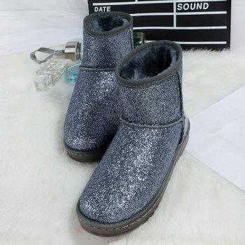 Flat Heel Splicing Sequined Cloth Snow Boots - SILVER SILVER