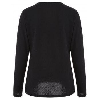 Asymmetric Buttoned T-Shirt - BLACK BLACK