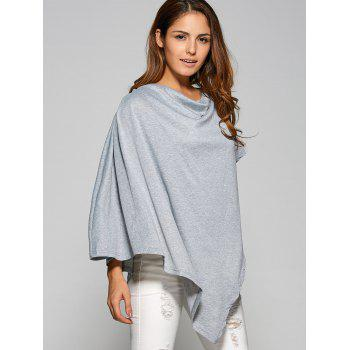 Asymmetrical Cape Loose T-Shirt - GRAY L