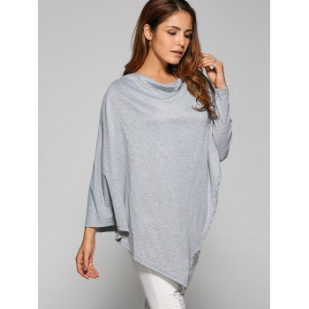 Asymmetrical Cape Loose T-Shirt - L L