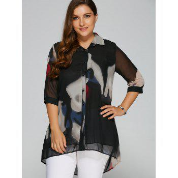 High-Low Printed Chiffon Shirt