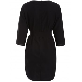 Slimming 3/4 Sleeve A-Line Dress - BLACK L