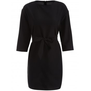 Slimming 3/4 Sleeve A-Line Dress - BLACK S