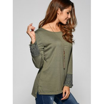 Side Slit Lace Panel T Shirt - ARMY GREEN ARMY GREEN