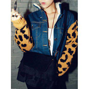 Leopard Sweater Sleeve Sherpa Fleeced Denim Jacket