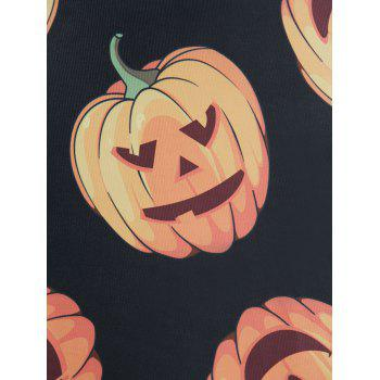 Pumpkin Print Swing Dress - BLACK 4XL