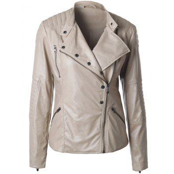 Fitted Oblique Zipper PU Biker Jacket