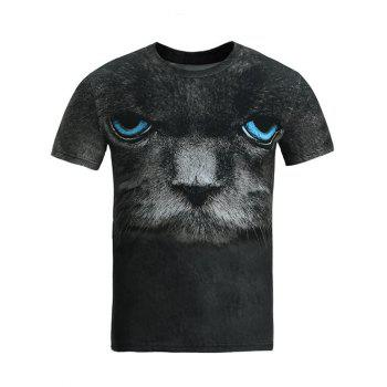 Round Neck 3D Blue Eye Cat Print T-Shirt