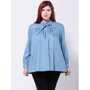Loose-Fitting Bowtie Design Blouse