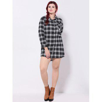 Long Sleeve Flap Pocket Plaid Asymmetric Shirt Dress - WHITE/BLACK 2XL