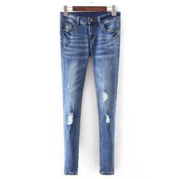 Frayed Bleach Wash Denim Pencil Pants