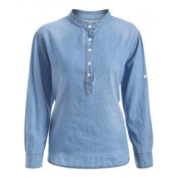 Plus Size Half Button Light Denim Shirt