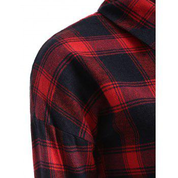 Button Up Plaid Long Flannel Shirt - RED M