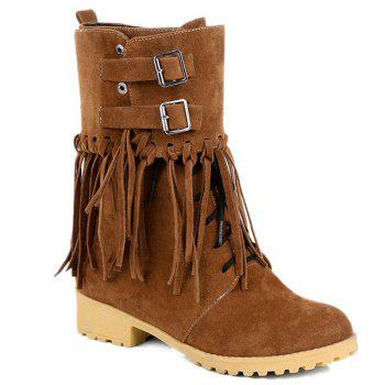 Fold Down Buckles Suede Fringe Boots