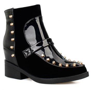 Rivet Flock Spliced Patent Leather Short Boots