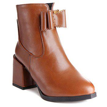 Bowknot PU Leather Chunky Heel Boots