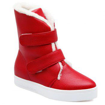 Platform Textured PU Leather Short Boots