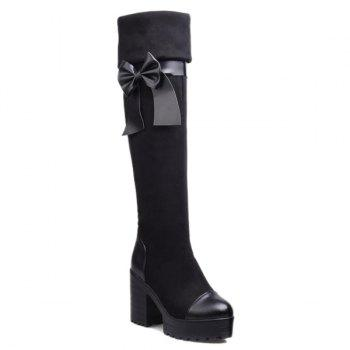 Thigh High Bowknot Chunky Heel Boots