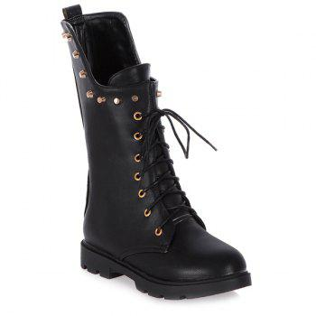 Eyelet Rivet Lace-Up Combat Boots