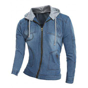 Detachable Hood Zip Pocket Denim Jacket