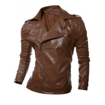 Zip Up Epaulet Design Faux Leather Biker Jacket